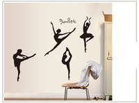 Wholesale Kids Ballet Stickers - Black Dancing Ballet Girls Wall Sticker PVC Art Ballet Wall Decals Kids' Room Vinyl stickers