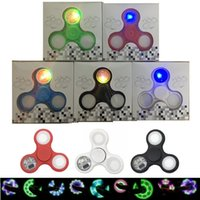 Wholesale Fingers Toys - Ship 1 Day LED hand spinner with switch fidget spinners Colorful Flashing Hand Spinners Triangle Finger Spinning Toys EDC Decompression Toys
