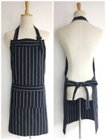 Wholesale Cook Clothing - Adult yarn dyed white & black strip Apron with Pocket Chef Waiter Kitchen Cook New Tool chef uniform chef clothing cooks kitchen work apron