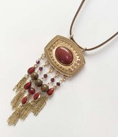 Wholesale Wooden Face Beads - Square Metal Pendant With Ruby stone Necklace Semi Precious Stone Brown Suede Pendant Oval Beads With Round Wooden Beads Chain Tassel