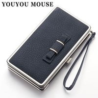 YOUYOU MOUSE Ladies Wallet Long Paragraph Cute Bowknot Coréenne Casual Creative Box Wallet Embrayage pour femme Mobile Phone Purse