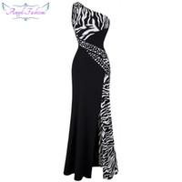 Wholesale Plus Size Dresses Zebra - Angel-fashion Women One Shoulder Zebra Beaded Gemstones Stitching Evening Dresses Prom Gowns Evening Dress Party Dress 072