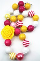 Wholesale Chunky Yellow Beaded Necklace - Yellow Flower chunky Bumbblegum Girl Neckalces for girls and kids CB320