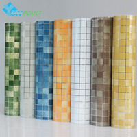 Wholesale Stickers Paper Roll - Kitchen wall sticker PVC mosaic tile wallpaper bathroom walls paper waterproof stickers wallpapers for kitchen home decor 45cm*5M roll