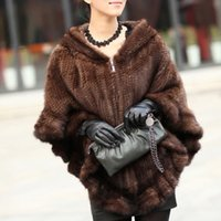 Wholesale Knitting Mink Fur Coat - Knitted Genuine Mink Fur Shawl Wrap Cape women mink fur coat winter fur jacket free shipping F138