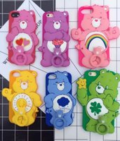 3D Cute Love-heart Bear Desenhos animados Soft Silicone Ring Strap Phone Cover Caso Rainbow Animal para iPhone 6 6s 6sPlus 7 7Plus goophone i8