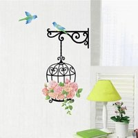 Wholesale Vinyl Tile Stickers - New Qualified Delicate New Fashion birdcage Wall Sticker Home Decor Vinyl Removeable Mural Decal with birds Hot Selling