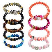 Wholesale Ancient Gold Beads - Healing Energy Stone Bracelet Ancient Silver Buddha Nature Stone 24 Styles Bead Stretch Bracelets For Women Men Fashion Jewelry Gift B333S