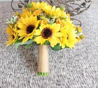 gerbera sonnenblume großhandel-Neue Art 2018 künstliche Sonnenblume-Gelb-Hochzeits-Blumensträuße für die Braut-Hochzeits-Blumen-Brautsträuße Ramos De Novia künstlich