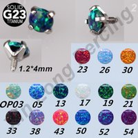 Wholesale Body Jewelry Titanium Piercing Mixed - G23 Titanium Opal Stone Dermal Anchor Replacement Tops Head for Internally Threaded Body Piercing Jewelry Mixed 15 Color
