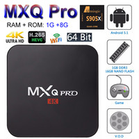 corriente pc tv wifi al por mayor-MXQ Pro Android 7.1 TV Box Amlogic S905W Quad Core Smart Mini PC 1G 8G Soporte Wifi 4K H.265 Streaming Reproductor Google Media RK3229