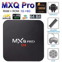 dörtlü amlogic android tv kutusu toptan satış-MXQ Pro Android 7.1 TV Kutusu Amlogic S905W Dört Çekirdekli Akıllı Mini PC 1G 8G Desteği Wifi 4 K H.265 Streaming Google Media Player RK3229