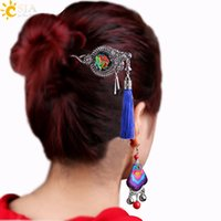 Wholesale Dangle Hairpin - CSJA China Style Women Jewelry Sets Tassel Hairpin Hair Stick Dangle Earring Handmade Embroidery Ethnic Jewelry Set Retro Silver Carved E557