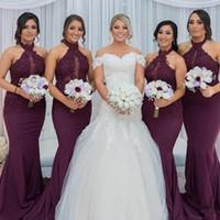 Wholesale Hot Arabic Wedding Dresses - 2017 Hot Purple Grape Mermaid Bridesmaid Dress Vintage Arabic Halter Neck Lace Top Wedding Guest Maid of Honor Gown Plus Size Custom Made