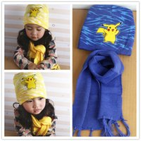 Wholesale Soft Pikachu Hat - New Poke Mon Winter Warm Cartoon Hat Scarf Set For Kids Knitted Poke Pikachu Soft Warm Beanie Cap Long Scrarves For Baby 3-10 years Kids