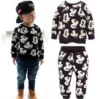 Wholesale Sweatsuit Girl - New Baby Boy Girls Cartoon Cute Clothing Sets Spring Fall Outfits Sweatsuit Tops Pants Leggings 2pcs Outfits Set 1 2 3 4 5 Y