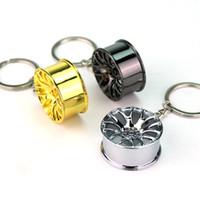 Wholesale Mini Car Wheel Keychain - Mini Car Wheels Keychain Creative Wheels Metal Key Pendant Car Keys Bag Pendant Key Ring Decoration Key Holder Free DHL 3 Color C89L