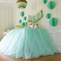 Wholesale Skirt For Table - Customized Table Skirts for Wedding Decoration Tulle Tutu Table Skirt Wedding Favors Party Decoration Home Textile