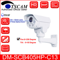 Wholesale Hd Ip Camera Optical Zoom - TSCAM new DM-SCB405HP-C13 HD 960P 1.3MP Bullet IP Camera 4X Optical Zoom Mini IR Night Vision PTZ Security camera P2P Free shipping