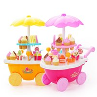 Wholesale Popular Sale Kids Kitchen Toys Ice Cream Sweets Cart Pretend Play Toy Educational Food Payset for Children VE0213