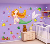 New Mermaid Princess Bedroom Stickers muraux Stickers décoratifs pour enfants Salle de bain en PVC