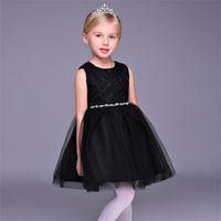 ingrosso bambini abiti da sposa neri-New Flower Girl Dresses Nero Collo corto Corto Party Communion Dress per Wedding Little Girls Kids / Children Dress