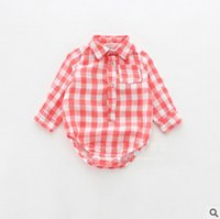 no brand spring lattice - babies lattice romper spring Baby boys Girls long sleeve lattice shirt jumpsuits toddler kids cotton climb clothings T1019 color