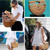 Wholesale Hollow Clutch Bags - 2017 Luxe Beach Bag for Women Famous Brand Bamboo Handbags Luxury Designer Women Tote Summer Straw Bag Travel Clutch