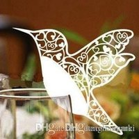 Wholesale Wholesale Price Cake Toppers - facotry price 100pc white Love Bird Place Laser Cut Wine Glass Cards for Wedding table seat christmas Party Decoration#Z130