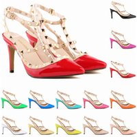 Wholesale Womens Black Studded Heels - Sexy Pointed Toe Med High Heels Summer Womens Wedding Fashion Buckle Studded Stiletto High Heel Sandals Shoes Women US SIZE 4-11 D0079