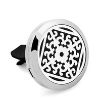 Wholesale Stainless Grille - New 2Style High Quality Window Grilles Car Perfume Locket 30MM 316L Stainless Steel Car Aroma Perfume Locket Christmas Gift