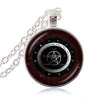 Wholesale Horoscope Astrology Zodiac - Pagan Elements Wheel Necklace Pentagram Pendant Zodiac Jewelry Pentacle Necklace Constellation Choker Astrology Horoscope Dome Jewellery