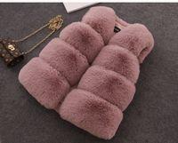 abrigos de piel de las niñas chaquetas al por mayor-chaleco de invierno de la muchacha de los cabritos del chaleco de la piel del chaleco de la muchacha de la capa del invierno de los cabritos outwear chaleco de la chaqueta de la muchacha de los cabritos 5 color tamaño 70-160cm