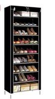 Wholesale Structured Shoes - New Fashion Black Gray Coffee Purple Contracted Mini Single Layer 10 Large Capacity Shoe Rack Metal Structure Of Non-Woven Fabric Shoe Rack