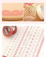 Wholesale Lace Lovely Adhesive Sticker - Wholesale- 2016 Lovely Transparant Lace Roll Adhesive Sticker Decorative Masking Tape Stationery For Scrapbooking Foto School Free Shipping
