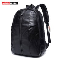 Wholesale Magic Zip - MAGIC UNION Oil Wax Leather Backpack Men's Backpack & Travel Bags Western College Style Fashion Shoulder Backpacks Mochila Zip