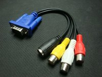 1pc 3 Cavo RCA Convertitore Femmina VGA a Video TV Out Adattatore AV S-Video! VGA SVGA a RCA