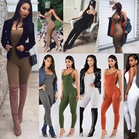 Wholesale Sexy Strapless Jumpsuit - Wholesale- Candy Color Solid Basic Jumpsuits Women Skinny Bodycon Rompers Strapless Sexy Bodysuits
