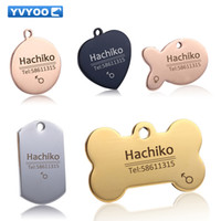 Wholesale Large Pet Id Tags - Free engraving Pet Dog cat collar accessories Decoration Pet ID Dog Tags Collars stainless steel cat tag customized tag