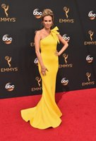 Wholesale Emmys Dresses - Emmys awards celebrity red carpet dresses one shoulder zipper back long sweep train sheath formal evening gowns