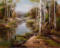 Wholesale beautiful oil paintings art for sale - 100 Handmade Art beautiful Classical Landscape Oil painting Reproduction Modern Canvas Wall Art Office bedroom Home living Room Decor AFJ05