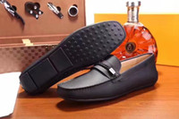 Wholesale Hard Drive Real - 2017 summer mens black blue white real leather fashion metal buckle starp slip on Loafers soft flat Moccasins slippers Driving shoes