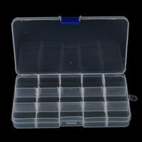 compartimientos del señuelo al por mayor-1 Unids Conveniente Señuelo de la Pesca Tool Case Tackle Boxs Caja de Cañas de Pescar Clara de Plástico Con 15 Compartimentos Al Por Mayor