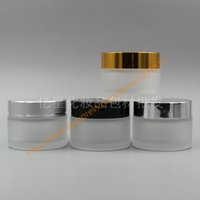 Wholesale Cosmetic Jars Gram - Wholesale- 50g clear frosted glass cream jar with shiny silver black gold matte silver aluminum lid, 50 gram cosmetic jar,frosted container