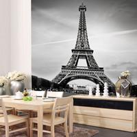 eiffel tower dekorasyon çıkartmaları toptan satış-Özel Tuval Sanat Fransa Paris Poster Paris Duvar Kağıdı Eyfel Kulesi Duvar Çıkartmaları Eyfel Kulesi Duvar Yatak Odası Dekorasyon