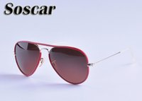 Wholesale Designer Fashion Drop Shipping - Soscar Sunglasses for Men Women Brand Designer UV400 High Quality Sunglasses Metal Frame Flash Mirror Lenses 11 Colors Drop Shipping