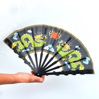 Wholesale Dragon Ornaments Wholesale - High-quality dragon-shaped black rod plastic folding fan China folding fan for crafts to send friends and family popular gifts