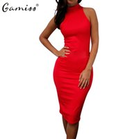 Vente en gros- Gamiss Summer Women Dress Nouveau Brief Style Work Office Robe à col roulé Sexy Bodycon Longueur au genou Robes de soirée Casual Vestidos