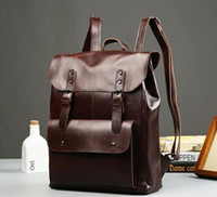 Wholesale Mens Backpack Brown Leather - fact Leisure trend crazy horse leather men backpack backpack vintage locomotives contracted clamshell students travel bag mens brand package