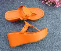 Wholesale Orange Wedge High Heels - Jhe03 Orange Buckle Flip Flops Platform Wedge High Heel Wedges Genuine Leather Slippers Summer Sandals Ladies Princess Women Shoes Sz 34-42